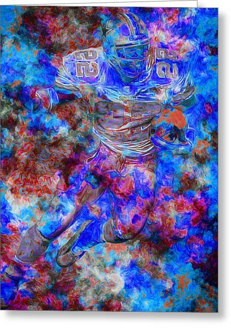 Emmitt Smith Dallas Cowboys Digital Painting 12 Greeting Card by David Haskett
