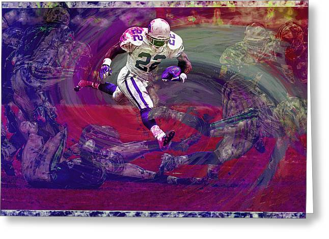 Emmitt Smith Dallas Cowboys Digital Painting Art Greeting Card