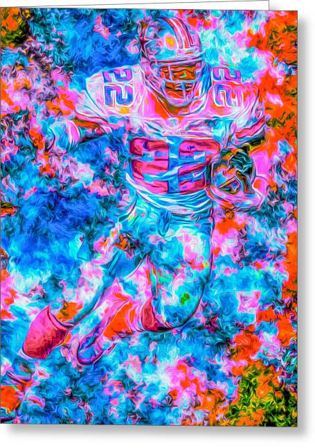 Emmitt Smith Dallas Cowboys Digital Painting Greeting Card by David Haskett
