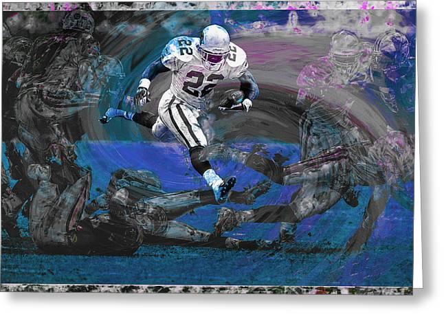 Emmitt Smith Dallas Cowboys Digitally Painted Art Greeting Card by David Haskett