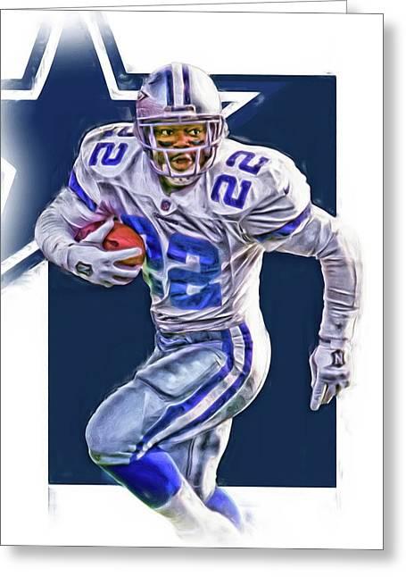 Emmitt Smith Dallas Cowboys Oil Art Greeting Card by Joe Hamilton