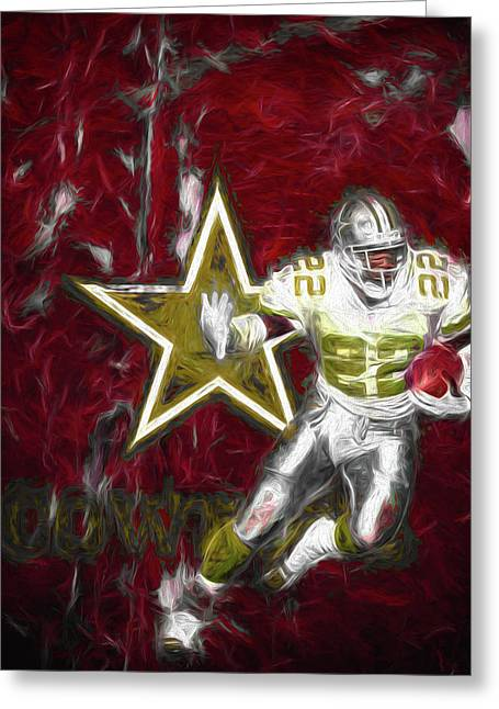 Emmitt Smith Nfl Dallas Cowboys Gold Digital Painting 22 Greeting Card by David Haskett