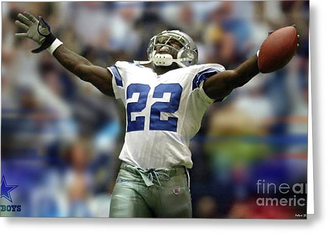 Emmitt Smith, Number 22, Running Back, Dallas Cowboys Greeting Card by Thomas Pollart