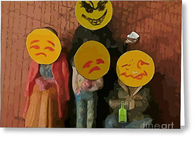 Emoji Family Victims Of Substance Abuse Greeting Card by John Malone