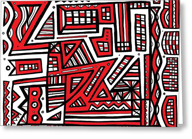 Emollient Abstract Art Red White Black Greeting Card