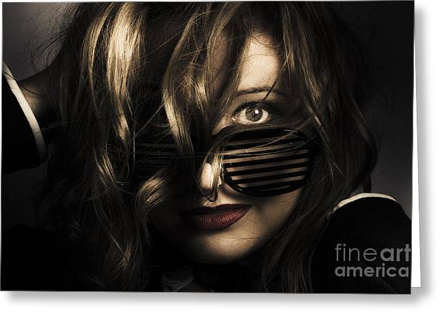Emotive Headshot On A Fashionable Female Model Greeting Card by Jorgo Photography - Wall Art Gallery