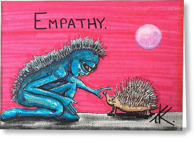 Greeting Card featuring the painting Empathetic Alien by Similar Alien