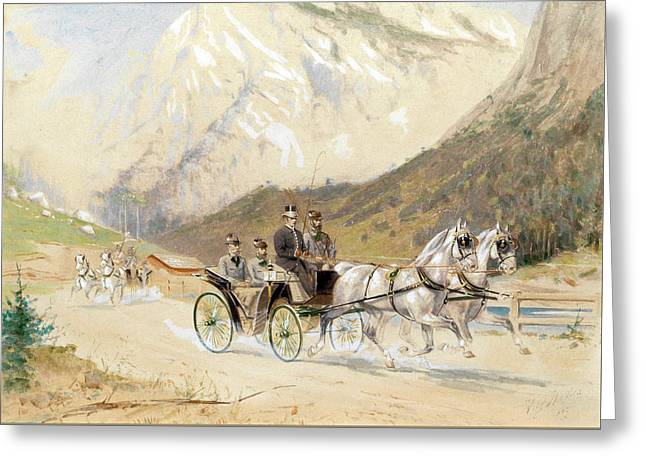 Emperor Franz Joseph I With Crown Prince Rudolf On A Carriage Journey In The Salzkammergut Greeting Card