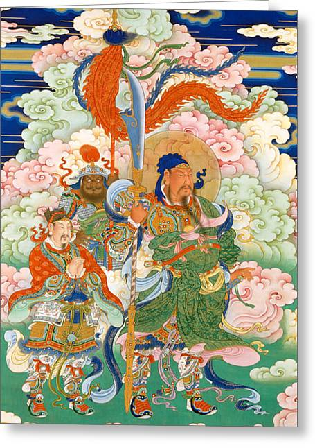 Emperor Guan, Hanging Scroll Greeting Card by Chinese School