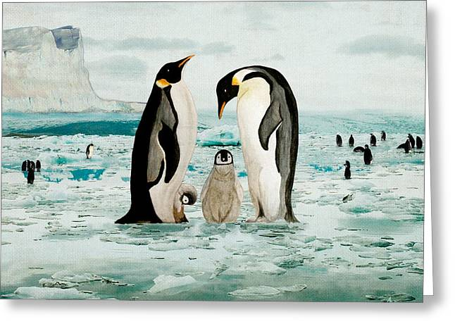 Emperor Penguin Family Greeting Card