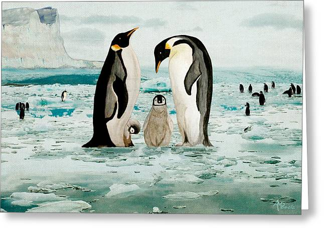 Greeting Card featuring the painting Emperor Penguin Family by Angeles M Pomata