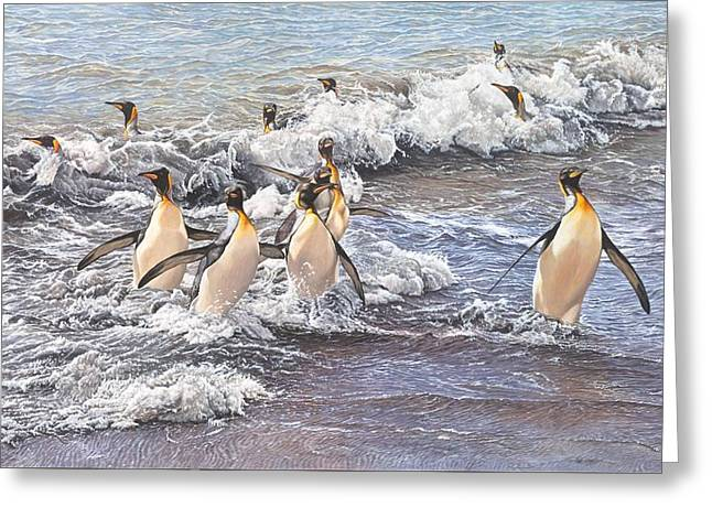 Greeting Card featuring the painting Emperor Penguins by Alan M Hunt