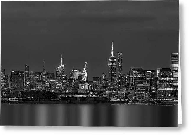 Empire State And Statue Of Liberty Bw Greeting Card by Susan Candelario