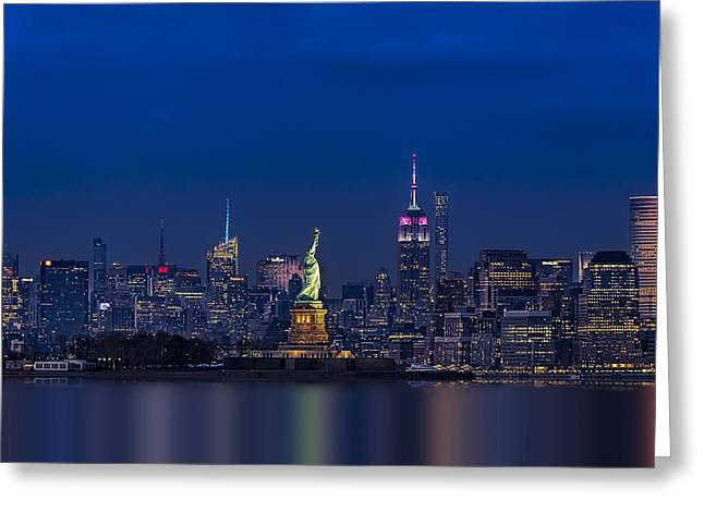 Empire State And Statue Of Liberty Greeting Card by Susan Candelario