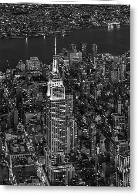 Empire State Building Aerial View Bw Greeting Card by Susan Candelario
