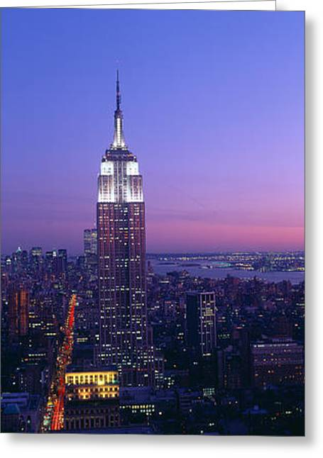 Empire State Building At Sunset, View Greeting Card