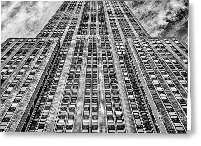 U.s.a Greeting Cards - Empire State Building Black and White Square Format Greeting Card by John Farnan