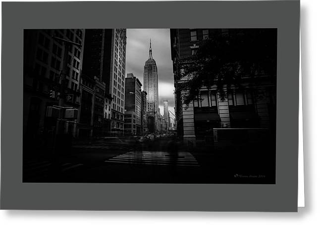 Empire State Building Bw Greeting Card by Marvin Spates
