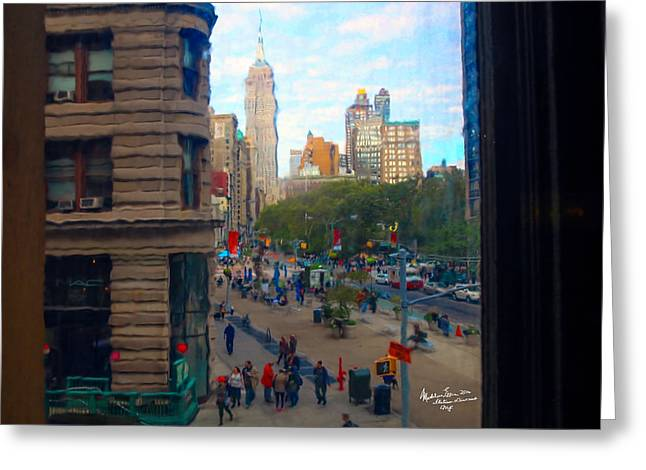 Empire State Building - Crackled View 2 Greeting Card by Madeline Ellis