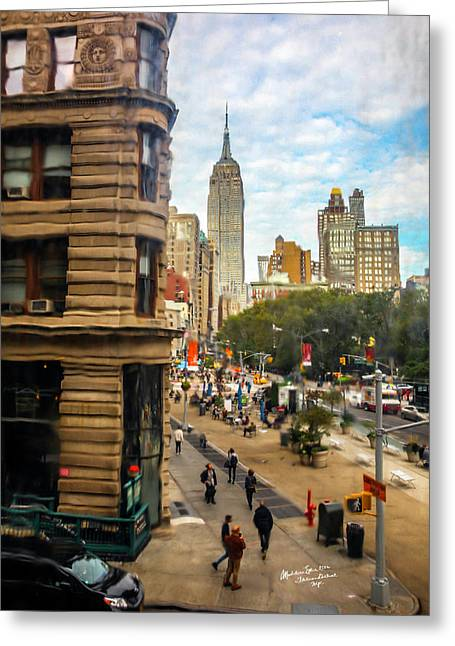 Empire State Building - Crackled View 3 Greeting Card by Madeline Ellis