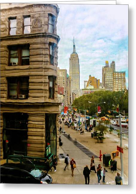 Empire State Building - Crackled View Greeting Card by Madeline Ellis