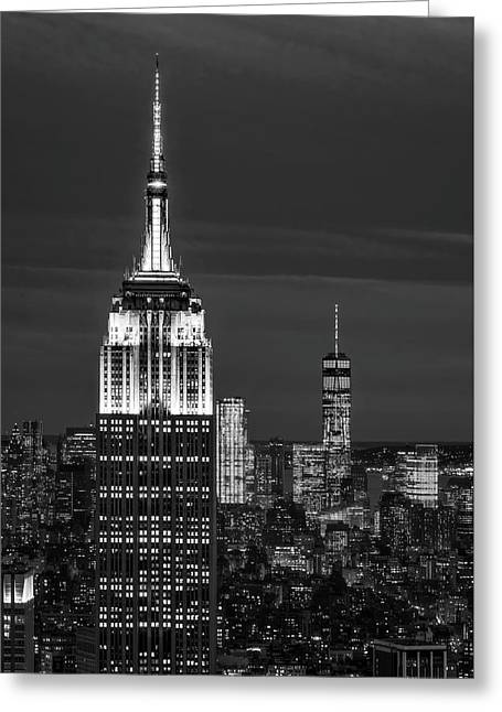 Empire State Building Esb World Trade Center Wtc Nyc Bw Greeting Card