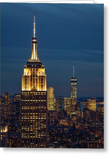 Empire State Building Esb World Trade Center Wtc Nyc Greeting Card by Susan Candelario