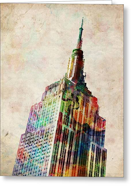 Landmarks Tapestries Textiles Greeting Cards - Empire State Building Greeting Card by Michael Tompsett