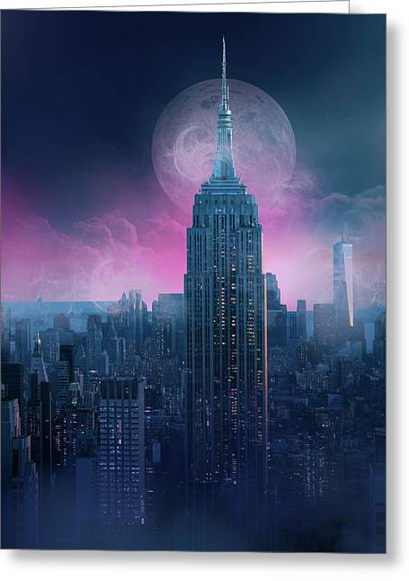 Empire State Building Moonlight Greeting Card