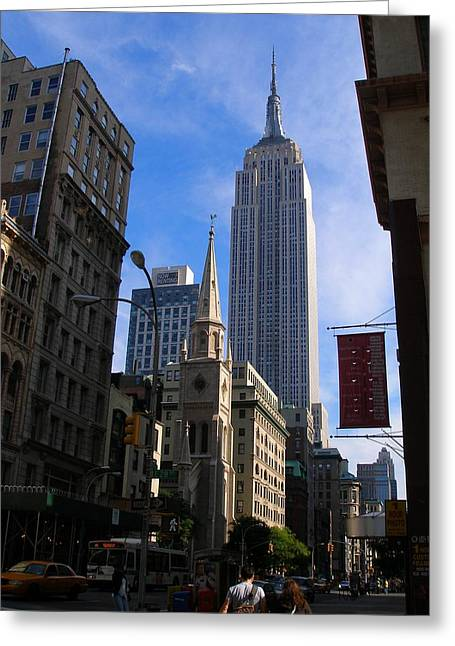 Empire State Building-new York City-manhattan Skyline Greeting Card by Candace Garcia