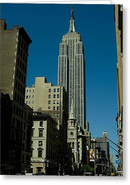 Empire State Building Seen From Street Greeting Card by Todd Gipstein