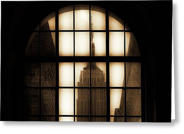 Empire State Building Sepia Greeting Card by Andrew Fare