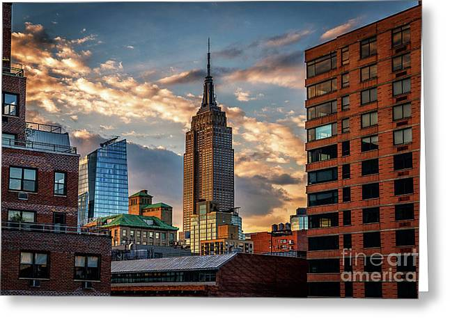 Empire State Building Sunset Rooftop Greeting Card