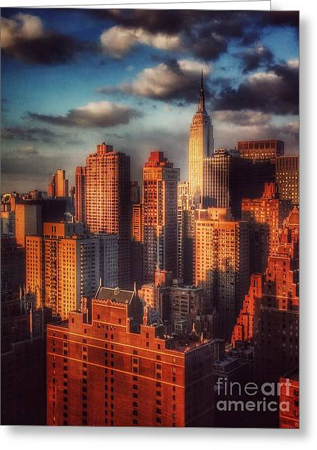 Empire State In Gold Greeting Card by Miriam Danar
