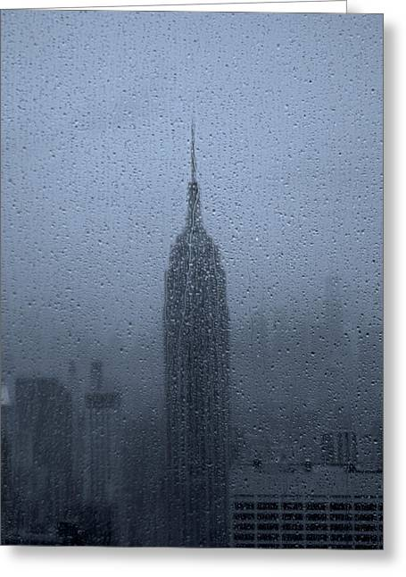 Empire State In The Rain Greeting Card by Martin Newman