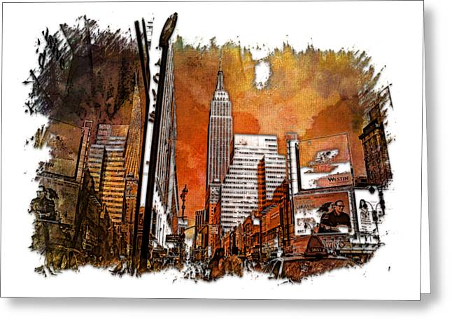 Empire State Reflections Earthy Rainbow 3 Dimensional Greeting Card by Di Designs