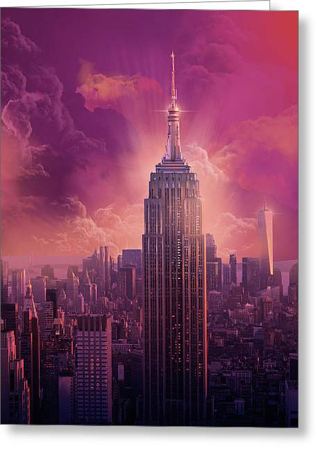 Empire State Building Sunset Greeting Card