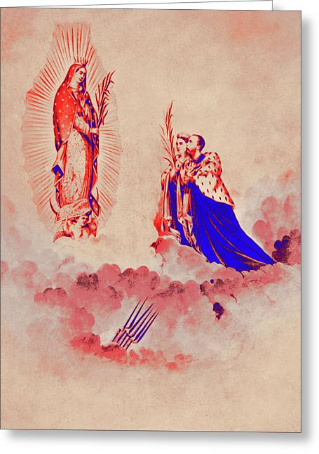 Empress Carlota And Emperor Maximilian Kneel Before Our Lady Of  Greeting Card