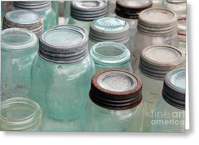 Empty Antique Canning Jars Greeting Card