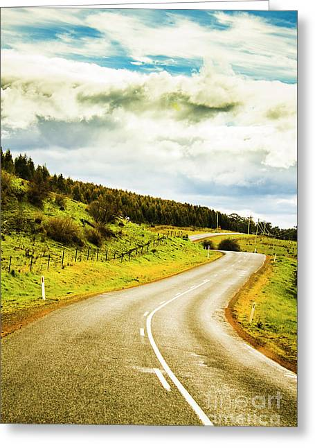 Empty Asphalt Road In Countryside Greeting Card