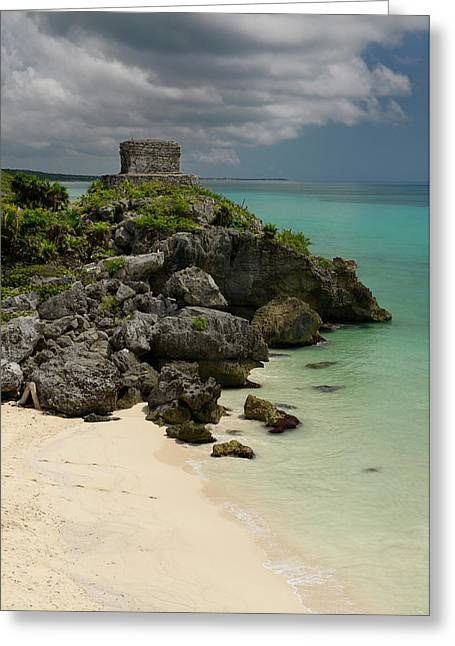 Empty Beach At The Temple Of The Wind God Kukulcan On A Sea Clif Greeting Card by Reimar Gaertner