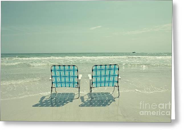 Empty Beach Chairs Greeting Card by Edward Fielding