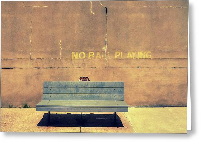 Empty Bench And Warning Greeting Card