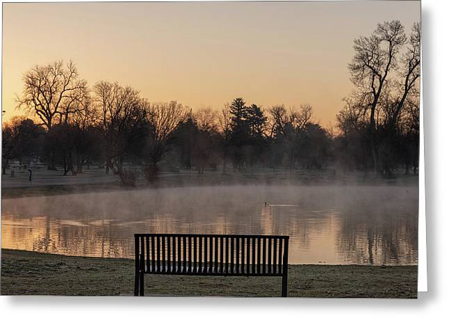 Empty Bench At Misty City Park Lake Greeting Card