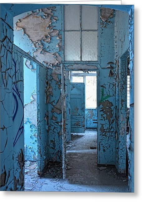 Empty Blue Rooms Greeting Card by Joachim G Pinkawa