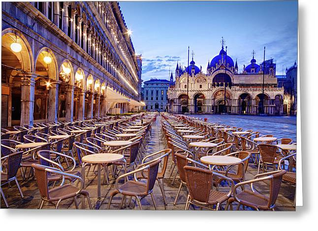 Empty Cafe On Piazza San Marco - Venice Greeting Card