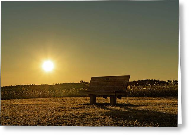 Greeting Card featuring the photograph Empty Cavendish Beach Bench by Chris Bordeleau