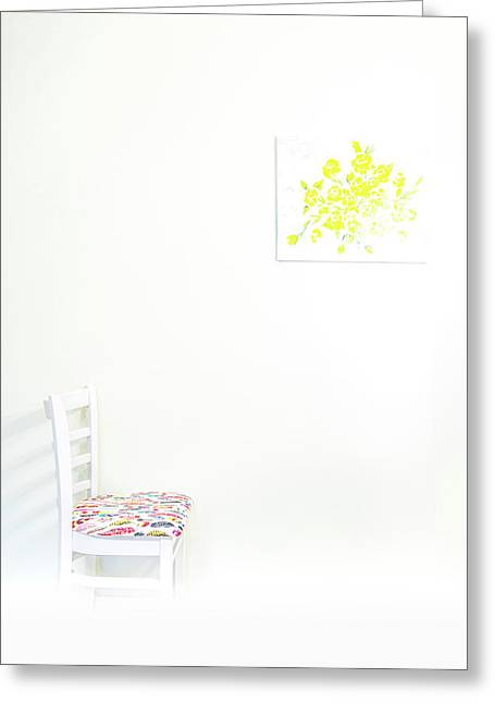 Empty Chair With Yellow Roses Greeting Card