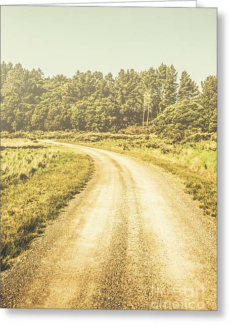 Empty Curved Gravel Road In Tasmania, Australia Greeting Card