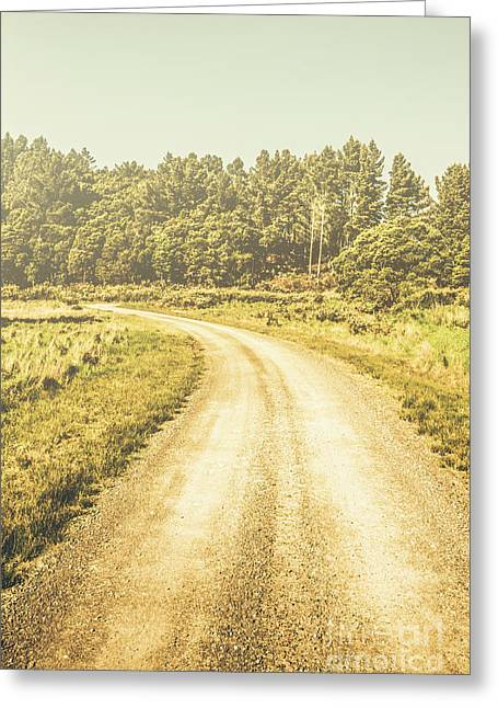 Empty Curved Gravel Road In Tasmania, Australia Greeting Card by Jorgo Photography - Wall Art Gallery